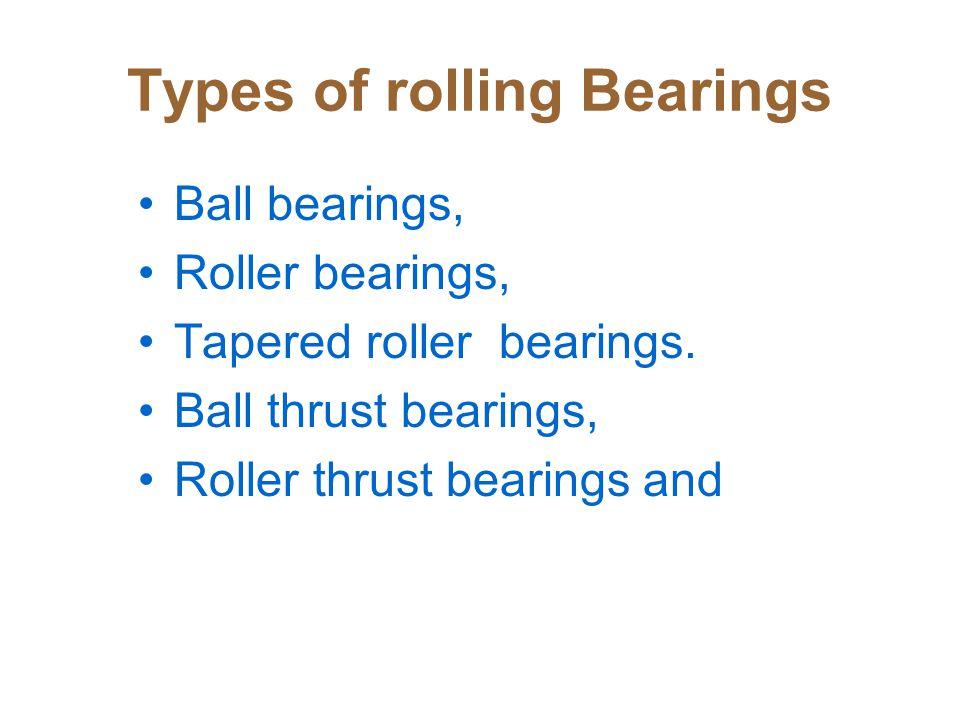 Types of rolling Bearings Ball bearings, Roller bearings, Tapered roller bearings.