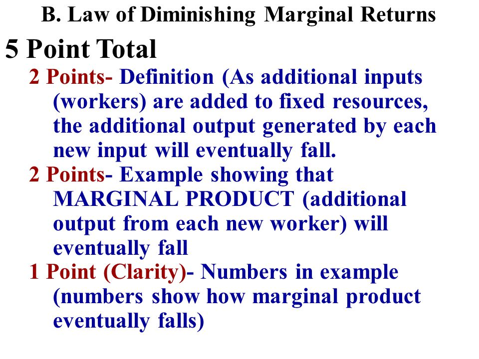 5 Point Total 1 Point- definition of fixed costs (costs that DO NOT change with the amount produced) 1 Point- Example of a fixed costs/resource 1 Point- definition of variable costs (costs that change with the amount produced) 1 Point- Example of a variable cost/resource 1 Point- Example showing that Total cost equals fixed plus variable.