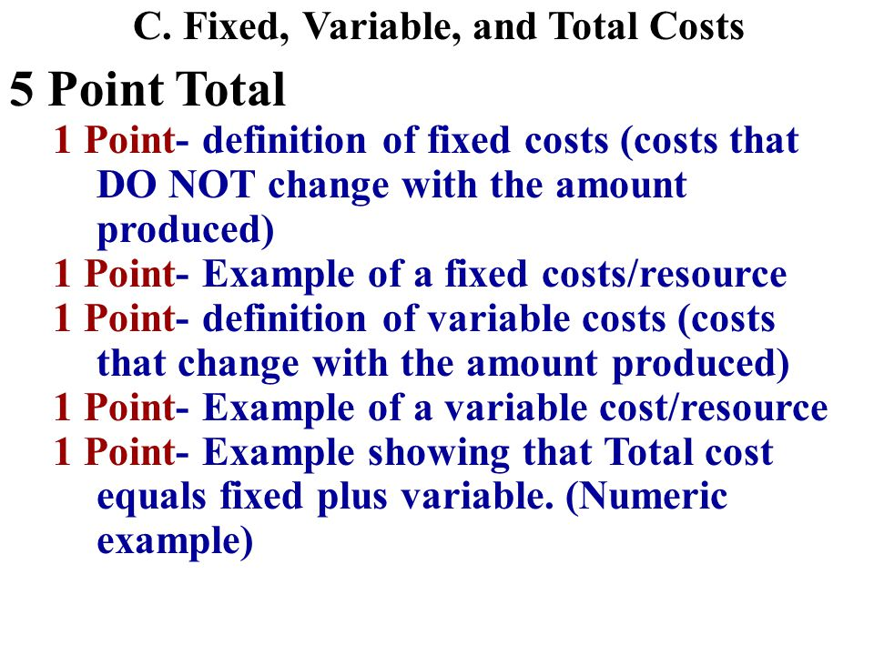 Question #3B 5 point total 1 point for stating an increase in the price of an input (styrofoam) will increase resource costs (MC increases or supply decreases) 2 points for stating that an increase in variable costs will increase the MC, ATC and AVC curves.