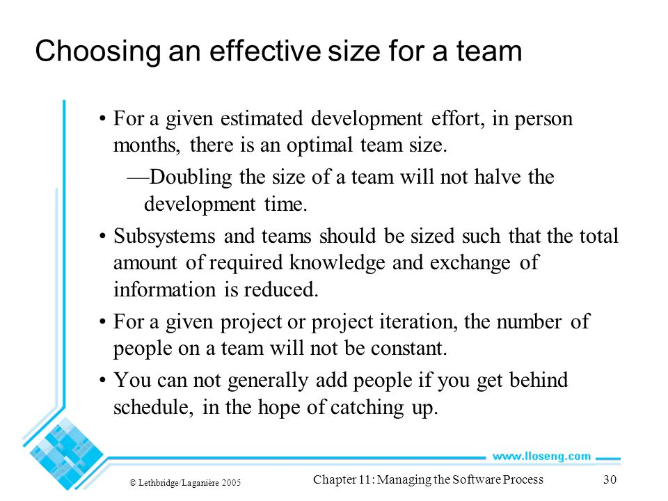 © Lethbridge/Laganière 2005 Chapter 11: Managing the Software Process30 Choosing an effective size for a team For a given estimated development effort, in person months, there is an optimal team size.