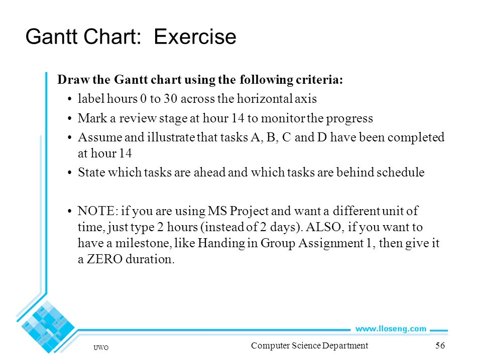 UWO Computer Science Department56 Gantt Chart: Exercise Draw the Gantt chart using the following criteria: label hours 0 to 30 across the horizontal axis Mark a review stage at hour 14 to monitor the progress Assume and illustrate that tasks A, B, C and D have been completed at hour 14 State which tasks are ahead and which tasks are behind schedule NOTE: if you are using MS Project and want a different unit of time, just type 2 hours (instead of 2 days).