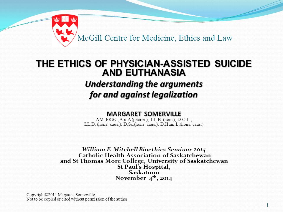 an analysis of the issue of legalizing euthanasia through the utilitarian lens Alex schadenberg, executive director of the euthanasia prevention coalition summarizes the peer reviewed journal article titled: euthanasia and assisted suicide: a physician's and ethicist's perspectives by dr margaret somerville and dr j donald boudreau that was published by medicolegal and bioethics on july 17, 2014margaret.