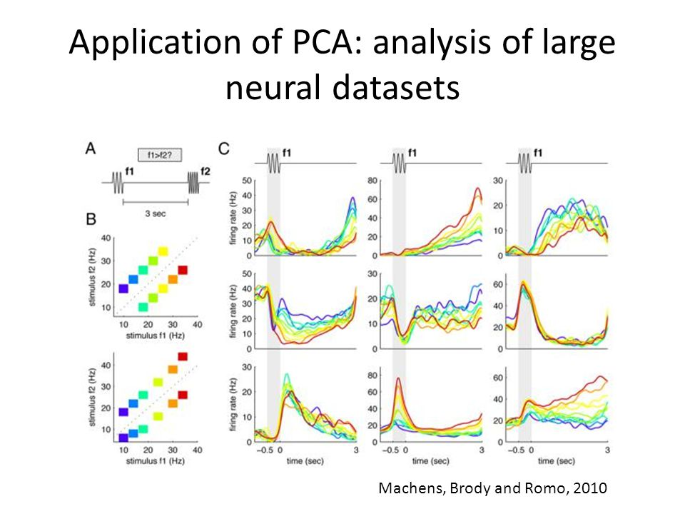 Application of PCA: analysis of large neural datasets Machens, Brody and Romo, 2010