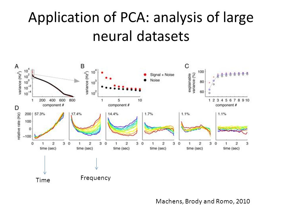 Application of PCA: analysis of large neural datasets Time Frequency Machens, Brody and Romo, 2010