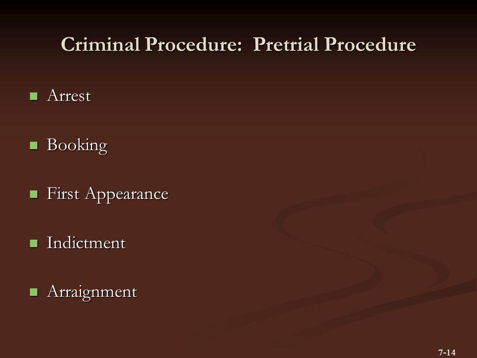 Criminal Procedure: Pretrial Procedure Arrest Arrest Booking Booking First Appearance First Appearance Indictment Indictment Arraignment Arraignment 7-14