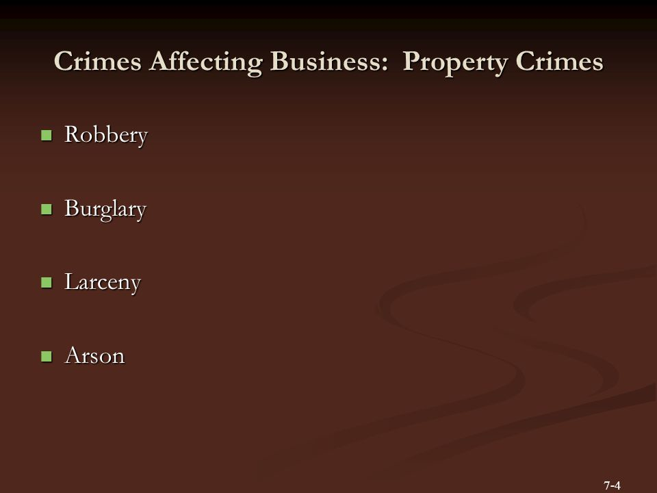 Crimes Affecting Business: Property Crimes Robbery Robbery Burglary Burglary Larceny Larceny Arson Arson 7-4