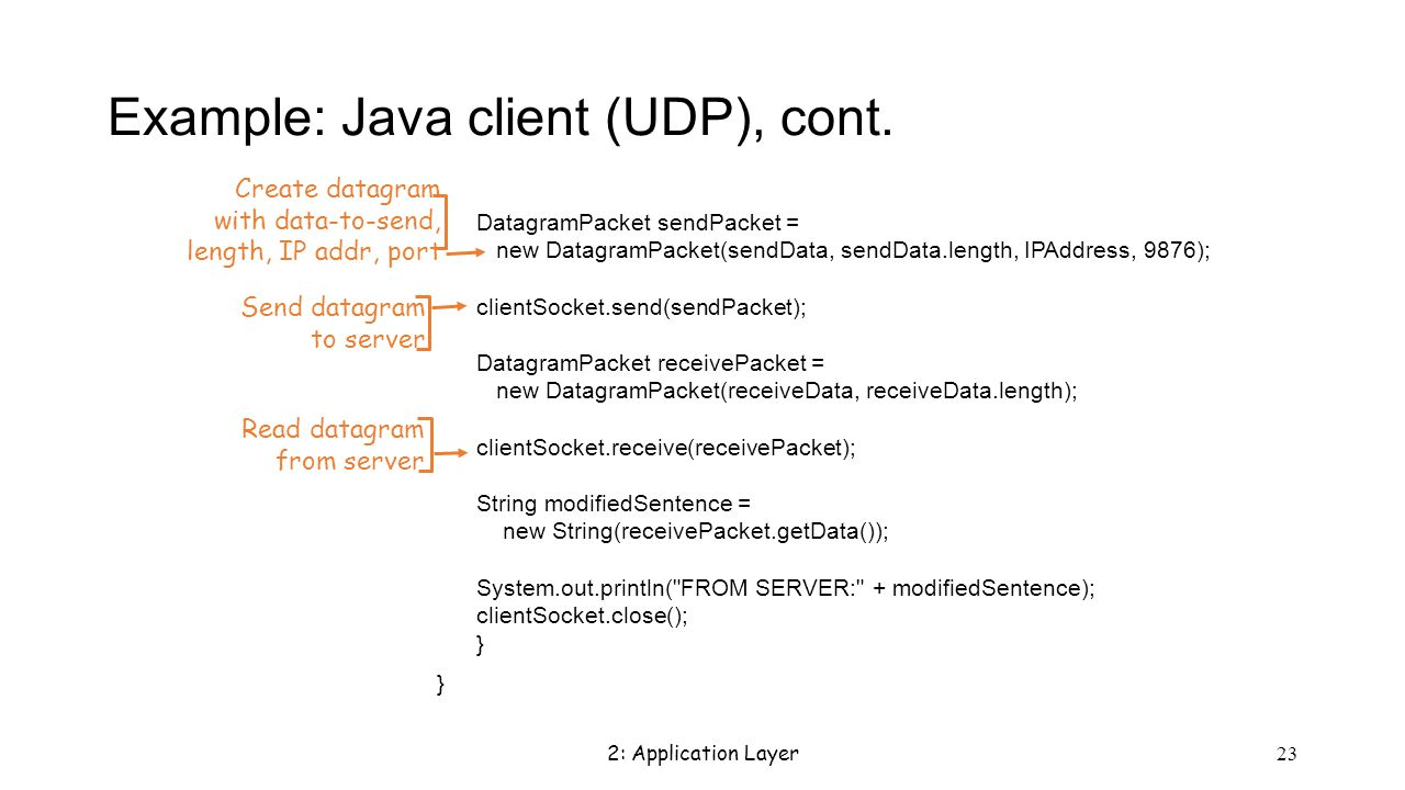 2: Application Layer 23 Example: Java client (UDP), cont.