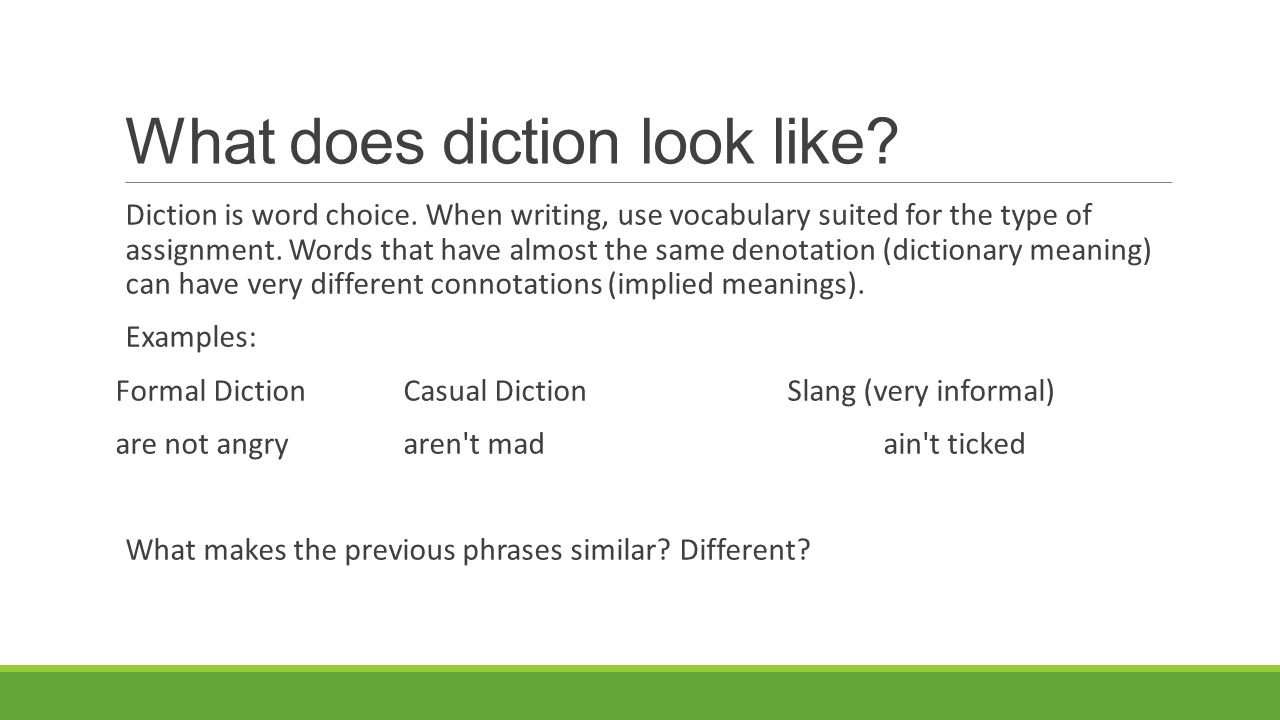 What does diction mean?