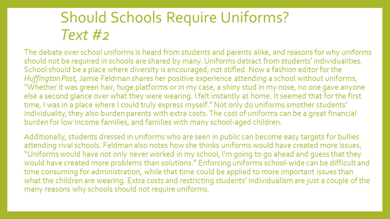 argumentative essay school uniforms