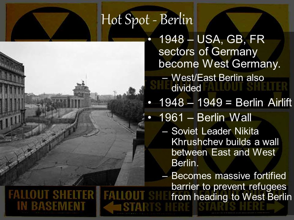 Hot Spot - Berlin 1948 – USA, GB, FR sectors of Germany become West Germany.