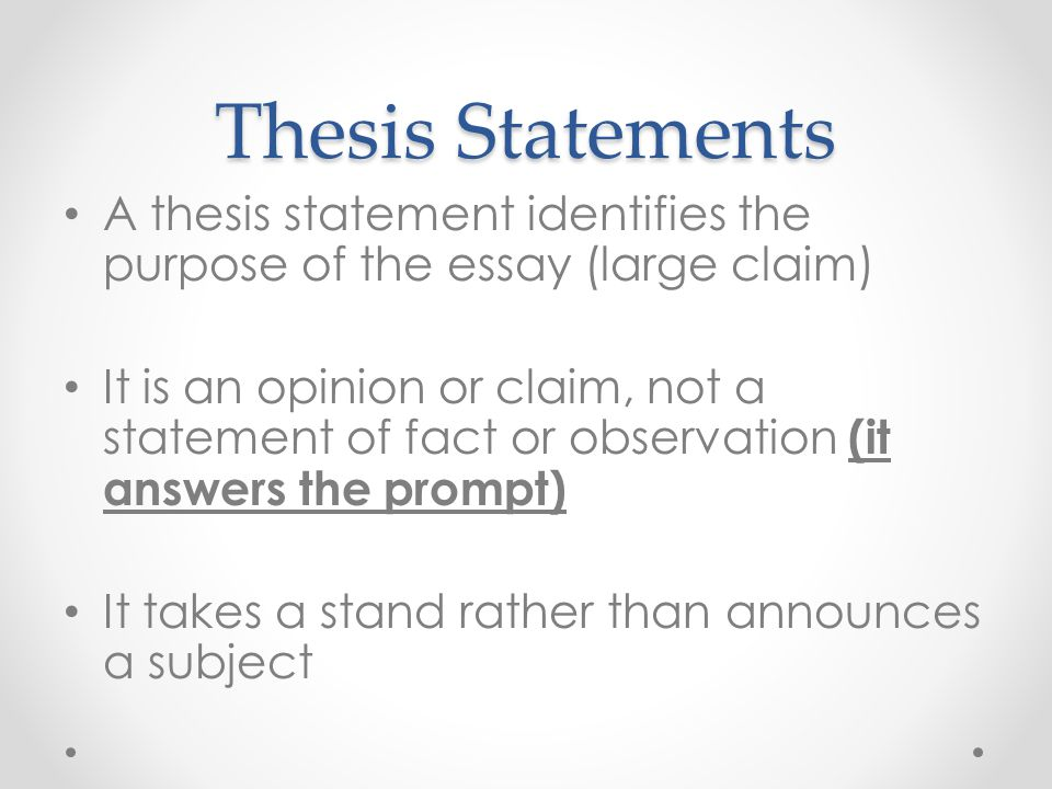 Thesis Statement Of A Speech