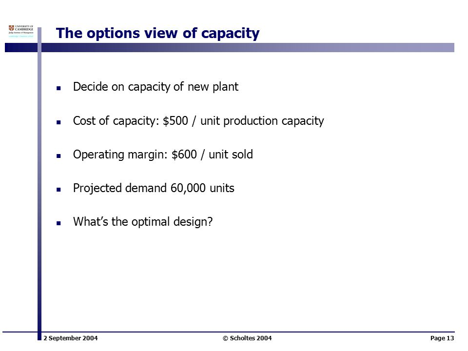 2 September 2004 © Scholtes 2004Page 13 The options view of capacity Decide on capacity of new plant Cost of capacity: $500 / unit production capacity Operating margin: $600 / unit sold Projected demand 60,000 units What's the optimal design