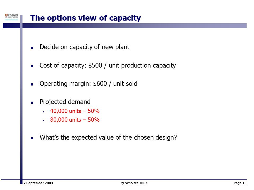 2 September 2004 © Scholtes 2004Page 15 The options view of capacity Decide on capacity of new plant Cost of capacity: $500 / unit production capacity Operating margin: $600 / unit sold Projected demand 40,000 units – 50% 80,000 units – 50% What's the expected value of the chosen design