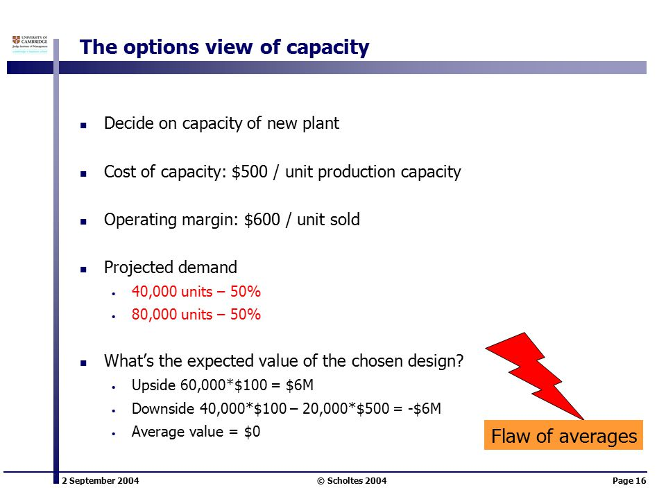 2 September 2004 © Scholtes 2004Page 16 The options view of capacity Decide on capacity of new plant Cost of capacity: $500 / unit production capacity Operating margin: $600 / unit sold Projected demand 40,000 units – 50% 80,000 units – 50% What's the expected value of the chosen design.