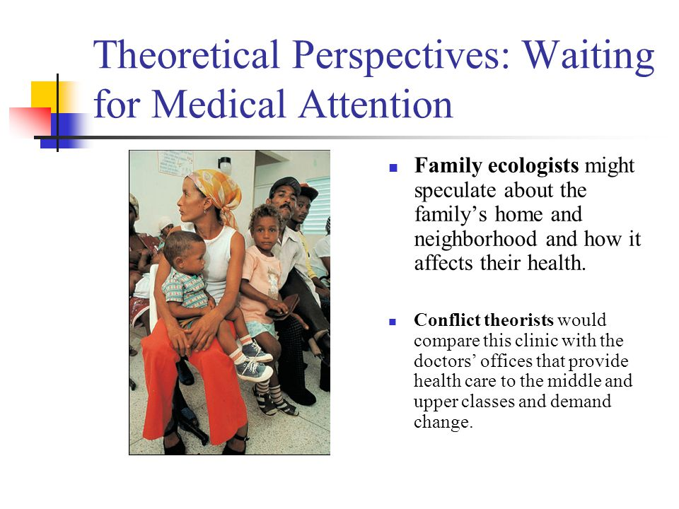 Theoretical Perspectives: Waiting for Medical Attention Family ecologists might speculate about the family's home and neighborhood and how it affects their health.