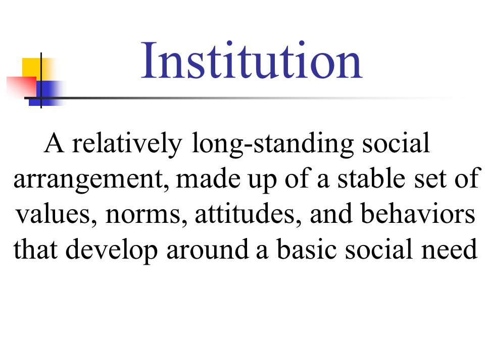 Institution A relatively long-standing social arrangement, made up of a stable set of values, norms, attitudes, and behaviors that develop around a basic social need