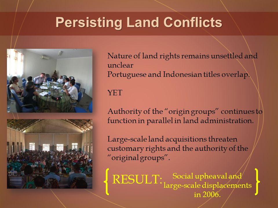 Persisting Land Conflicts Nature of land rights remains unsettled and unclear Portuguese and Indonesian titles overlap.