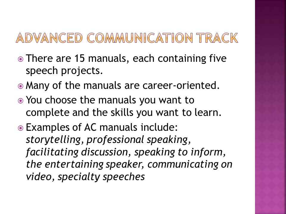  There are 15 manuals, each containing five speech projects.
