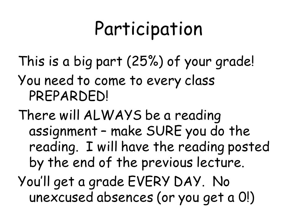 Participation This is a big part (25%) of your grade.