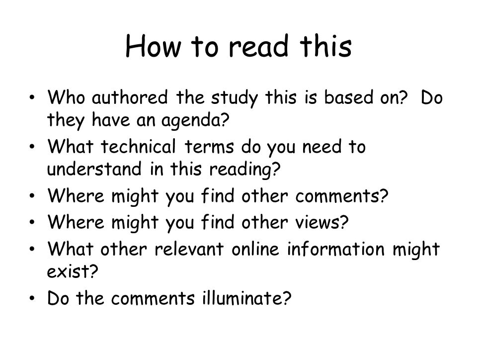 How to read this Who authored the study this is based on.
