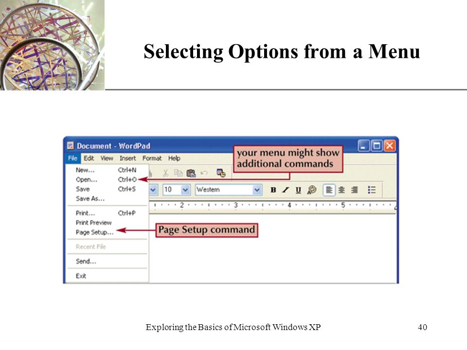 XP Exploring the Basics of Microsoft Windows XP40 Selecting Options from a Menu