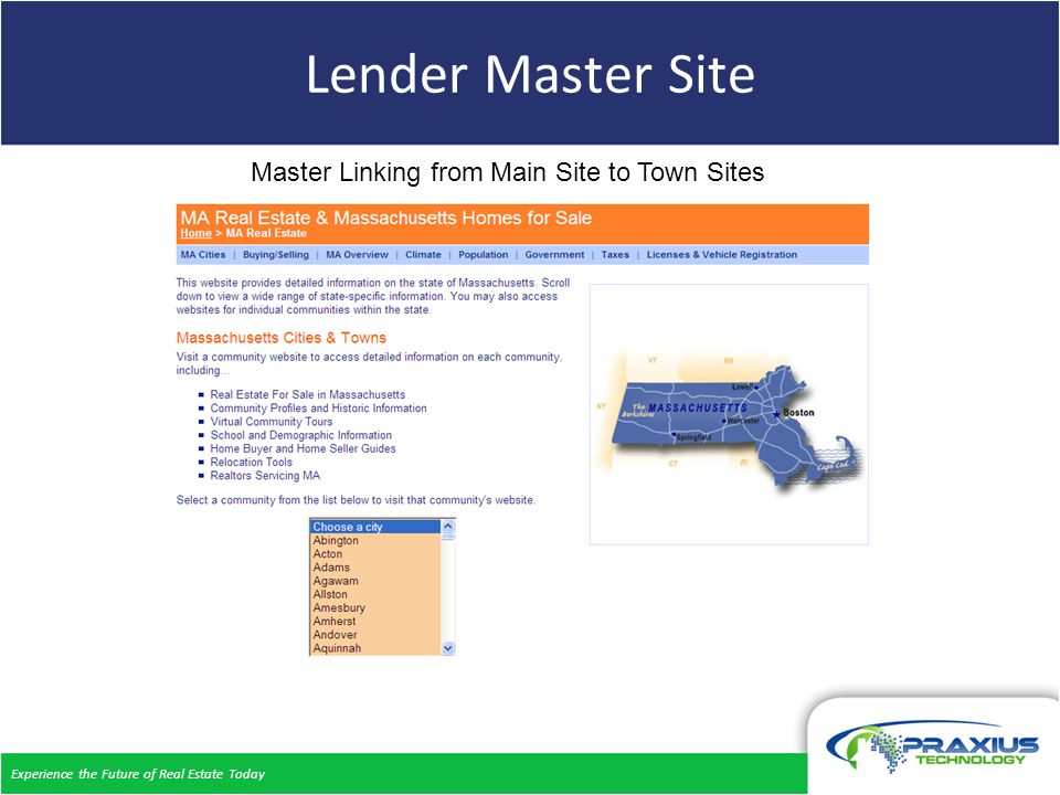 Experience the Future of Real Estate Today Lender Master Site Master Linking from Main Site to Town Sites