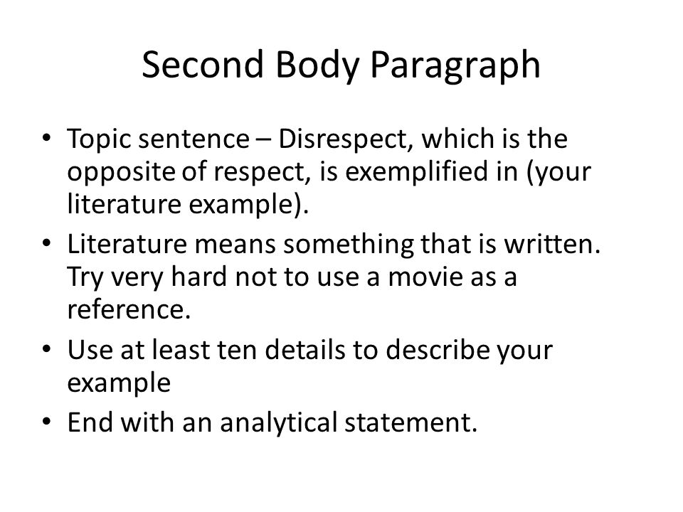 two paragraph essay on respect Two paragraph essay on respect in a friendship, creative writing on planting trees, creative writing prompts 5th home two paragraph essay on respect in a friendship, creative writing on planting trees, creative writing prompts 5th.