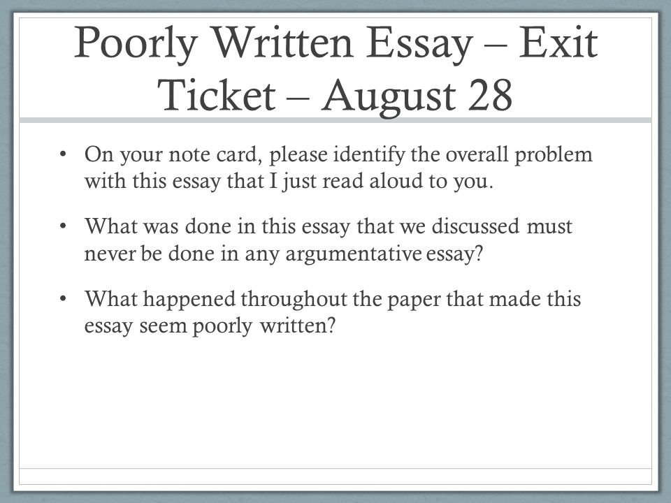 poorly written essay