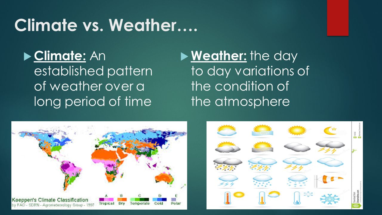 Factors That Affect Climate CHAPTER Climate vs. Weather ...