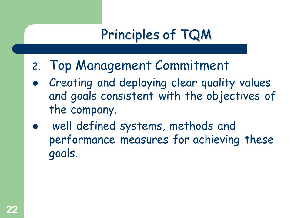 Greg Baker © 2004 22 Principlesof TQM Principles of TQM 2. Top Management Commitment Creating and deploying clear quality values and goals consistent