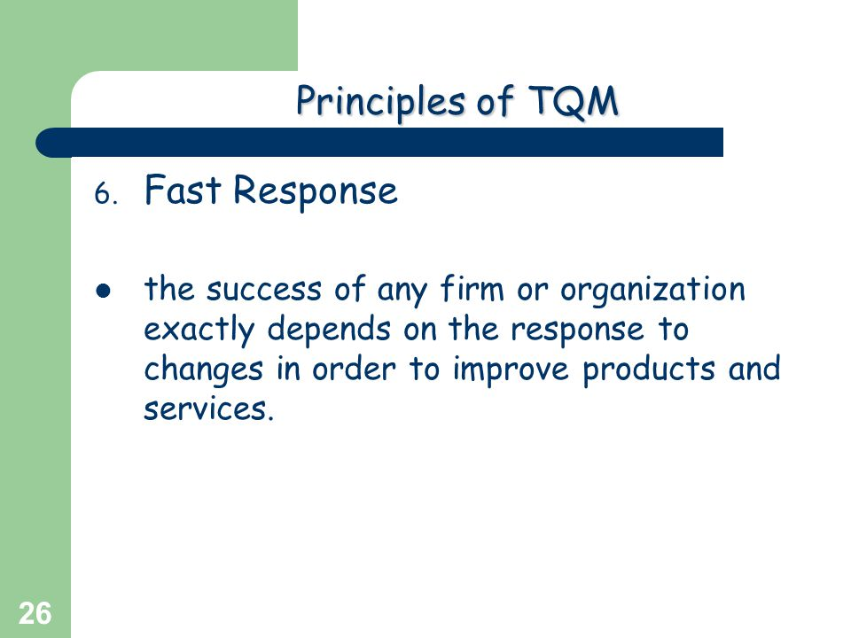 Greg Baker © 2004 26 Principlesof TQM Principles of TQM 6. Fast Response the success of any firm or organization exactly depends on the response to ch