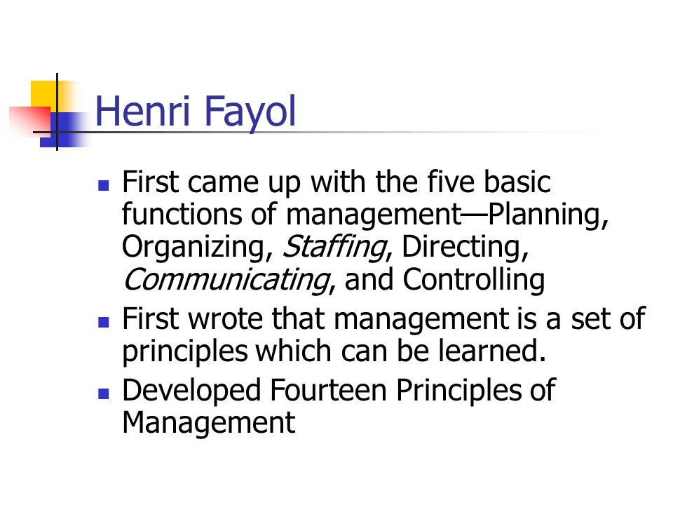Henri Fayol First came up with the five basic functions of management—Planning, Organizing, Staffing, Directing, Communicating, and Controlling First