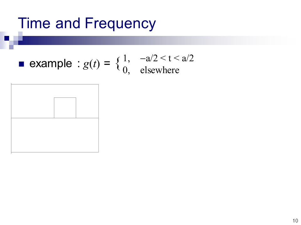 10 Time and Frequency example : g(t) = { 1,  a/2 < t < a/2 0, elsewhere