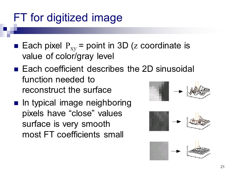 21 FT for digitized image Each pixel P xy = point in 3D ( z coordinate is value of color/gray level Each coefficient describes the 2D sinusoidal function needed to reconstruct the surface In typical image neighboring pixels have close values surface is very smooth most FT coefficients small