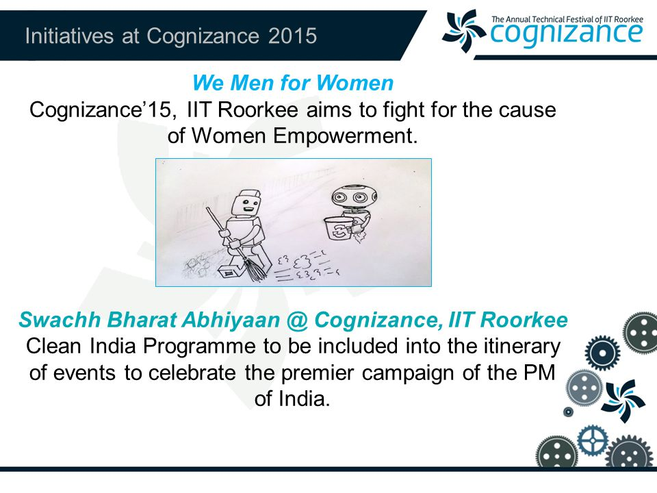 Initiatives at Cognizance 2015 We Men for Women Cognizance'15, IIT Roorkee aims to fight for the cause of Women Empowerment.