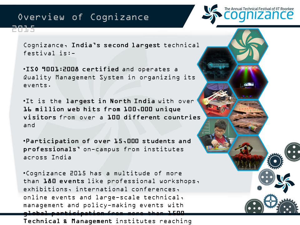 Cognizance, India's second largest technical festival is:- ISO 9001:2008 certified and operates a Quality Management System in organizing its events.