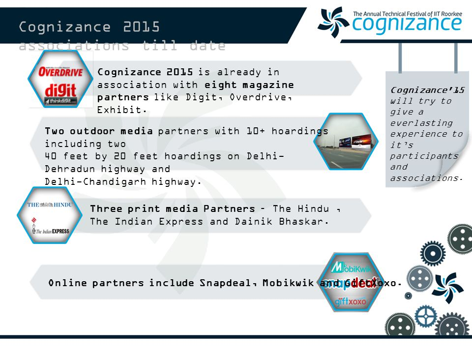 Cognizance 2015 associations till date Cognizance 15 will try to give a everlasting experience to it's participants and associations.