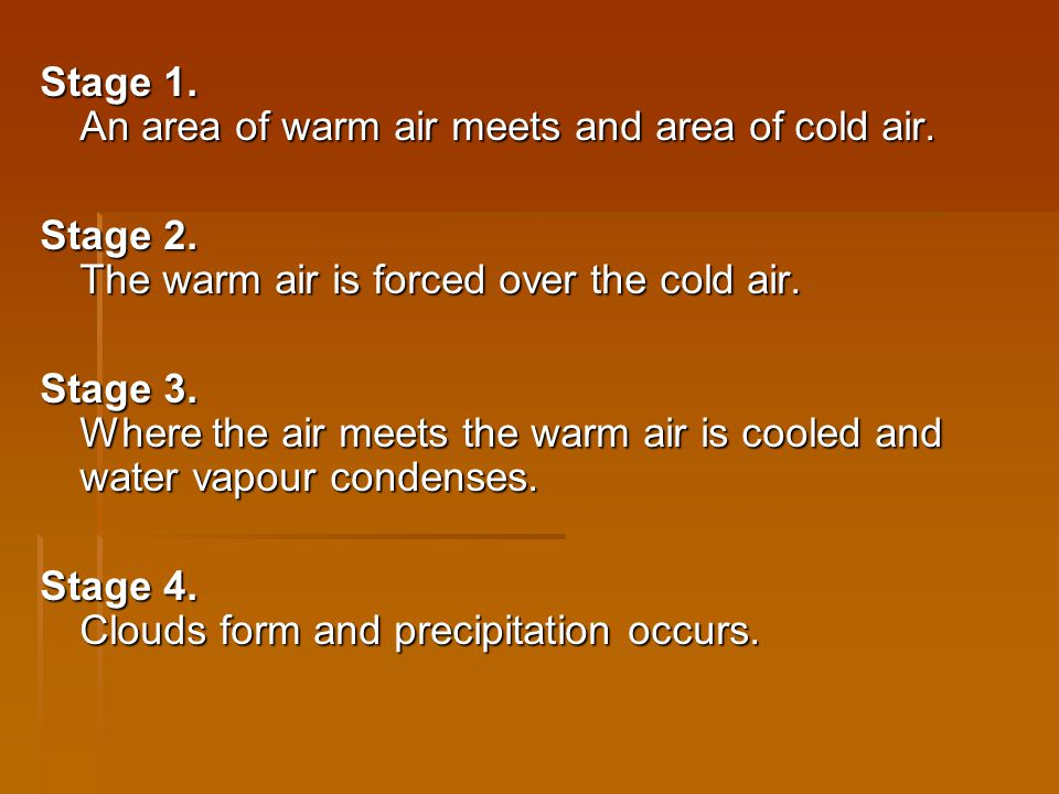 Stage 1. An area of warm air meets and area of cold air.