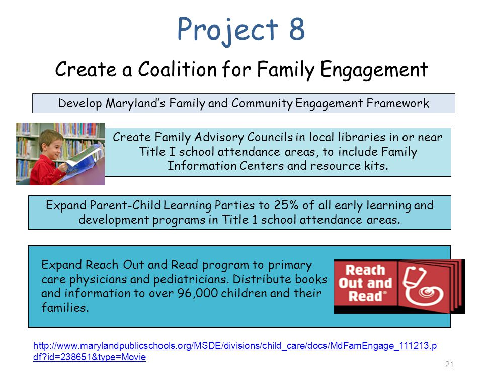 Project 8 Create a Coalition for Family Engagement Expand Parent-Child Learning Parties to 25% of all early learning and development programs in Title 1 school attendance areas.