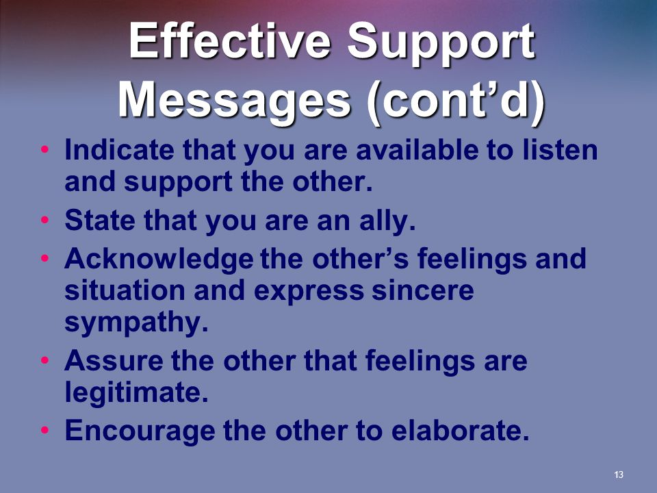13 Effective Support Messages (cont'd) Indicate that you are available to listen and support the other.