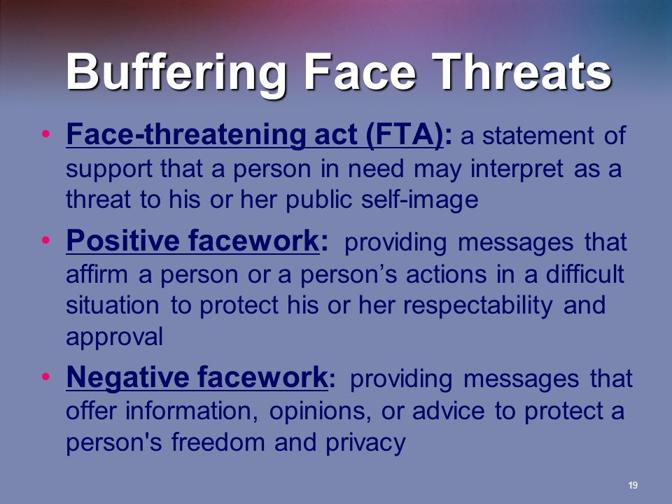Buffering Face Threats Face-threatening act (FTA): a statement of support that a person in need may interpret as a threat to his or her public self-image Positive facework: providing messages that affirm a person or a person's actions in a difficult situation to protect his or her respectability and approval Negative facework : providing messages that offer information, opinions, or advice to protect a person s freedom and privacy 19