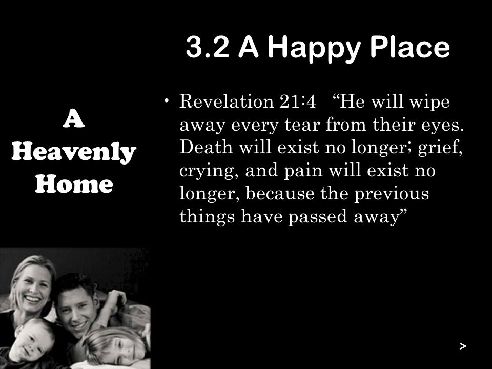 3.2 A Happy Place Revelation 21:4 He will wipe away every tear from their eyes.