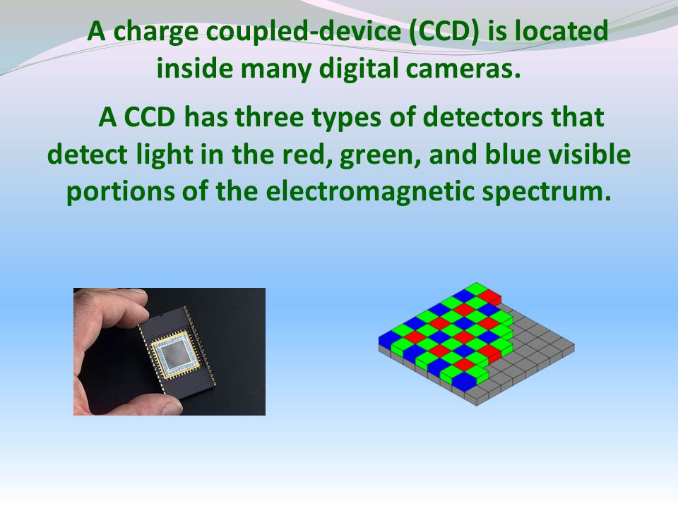 A charge coupled-device (CCD) is located inside many digital cameras.