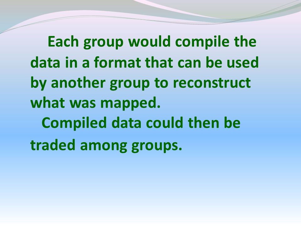 Each group would compile the data in a format that can be used by another group to reconstruct what was mapped.
