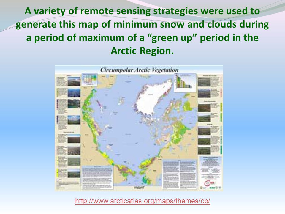 A variety of remote sensing strategies were used to generate this map of minimum snow and clouds during a period of maximum of a green up period in the Arctic Region.