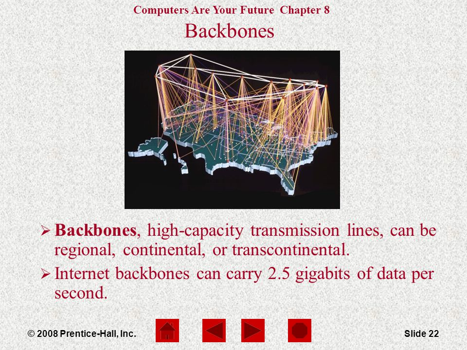 Computers Are Your Future Chapter 8 © 2008 Prentice-Hall, Inc.Slide 22 Backbones  Backbones, high-capacity transmission lines, can be regional, continental, or transcontinental.