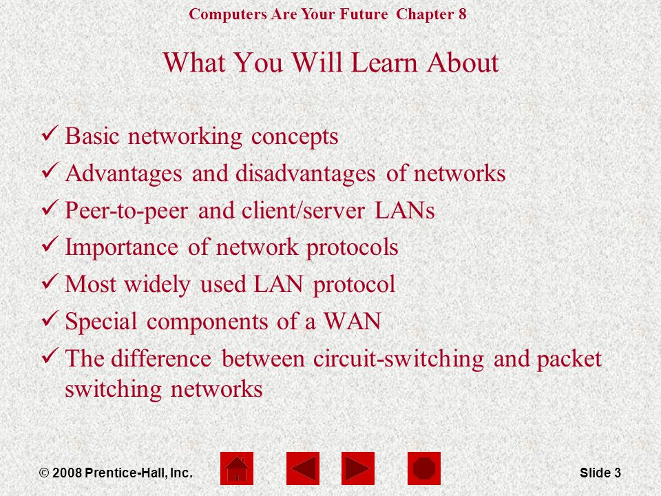 Computers Are Your Future Chapter 8 © 2008 Prentice-Hall, Inc.Slide 3 What You Will Learn About Basic networking concepts Advantages and disadvantages of networks Peer-to-peer and client/server LANs Importance of network protocols Most widely used LAN protocol Special components of a WAN The difference between circuit-switching and packet switching networks