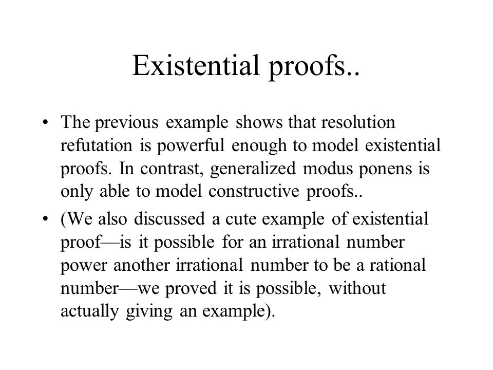 Existential proofs..