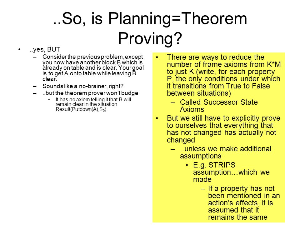 ..So, is Planning=Theorem Proving ..yes, BUT –Consider the previous problem, except you now have another block B which is already on table and is clear.