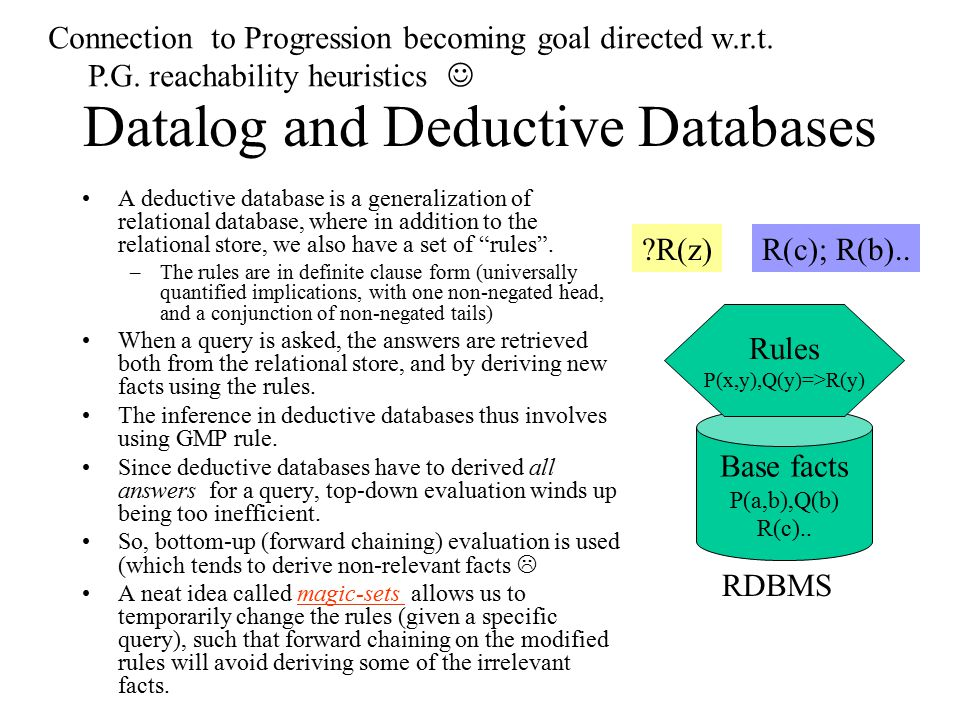 Datalog and Deductive Databases A deductive database is a generalization of relational database, where in addition to the relational store, we also have a set of rules .